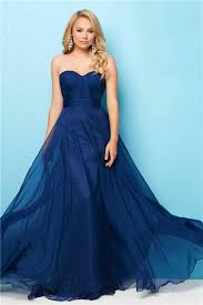 a line strapless long navy blue chiffon flowing evening prom dress