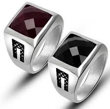 new mens rings images Stainless steel mens rings red black agate wedding ring buycoolprice jpg
