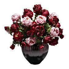 burgundy flowers pink burgundy peony faux flower arrangement purple bowl vase