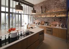 cuisine en brique beau mur de brique interieur cuisine cuisine en brique