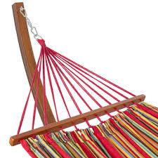 wooden curved arc hammock stand with cotton hammock outdoor garden