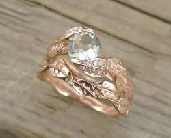 leaf engagement ring wedding set gold engagement ring set leaves ring set