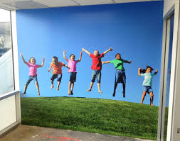 wall graphics wall mural tradeshow displays los angeles childrens lobby wall mural