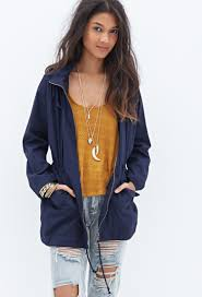 forever 21 favorite hooded utility jacket in blue lyst
