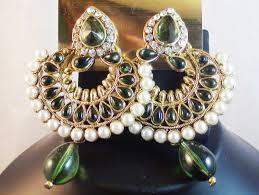 earing design green kundan pearl earrings shweta jewelry