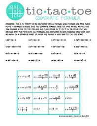 free tic tac toe quadratic formula partner activity tpt