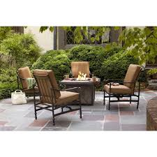 home depot outdoor decor hampton bay niles park 5 piece gas fire pit patio seating set with