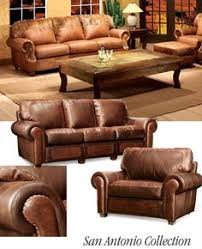 Leather Ranch Curved Sofa  Western Sofas And Loveseats For - Western furniture san antonio