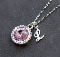 necklace with birthstones for june birthstone necklace personalized initial jewelry