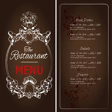 brown restaurant menu with ornaments vector free