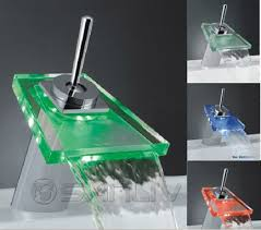 Led Bathroom Faucet by Glass Led Waterfall Bathroom Basin Mixer Taps Led Waterfall