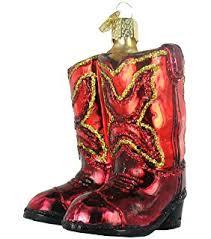 world cowboy boot glass blown ornament
