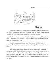 sharks reading comprehension passage sharks pinterest