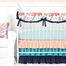 Preppy Crib Bedding Nursery Beddings Navy Coral Mint Nursery Bedding In Conjunction