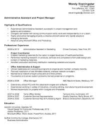 resume template for assistant resume admin assistant project manager susan ireland resumes