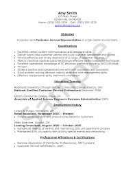 Resume Sample For Call Center Objective For Resume Customer Service Call Center Agent Without