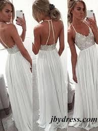 a line halter neck white backless floor length chiffon prom dress