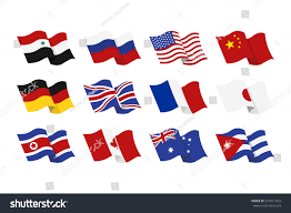 National Flag Of Canada Day Illustration Set National Flags Syria Russia Stock Illustration
