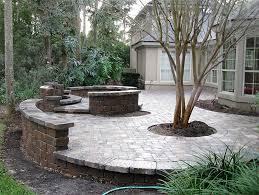 PATIO SEATING IDEAS Brick Paver Patio Custom Firepit Retaining - Backyard paver patio designs pictures