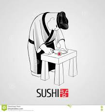 japanese restaurant cook at table sushi vector template logo icon symbol stock vector illustration