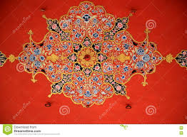 design on red ceiling stock photo image 71650856