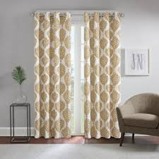 Gold And White Curtains Buy Gold Grommet Window Panel From Bed Bath Beyond