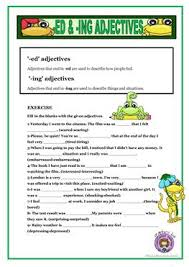 70 free esl adjectives with u2013ed or ing worksheets