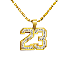 charm chains necklace images Number 23 pendants necklace golden plated mens hip hop chains for jpg