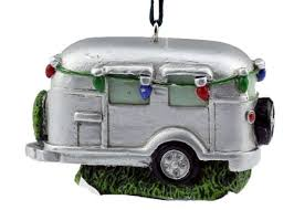 silver trailer with lights ornament