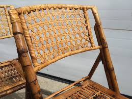 Folding Wicker Chairs Set Of Five Scorched Bamboo Frame Folding Chairs With Rattan Seat