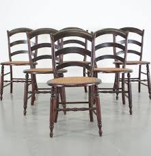 set of six mahogany cane bottom ladder back dining chairs ebth