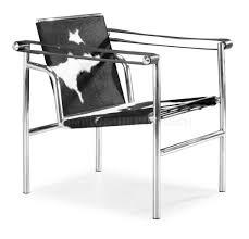 le corbusier style black u0026 white pony genuine leather chair
