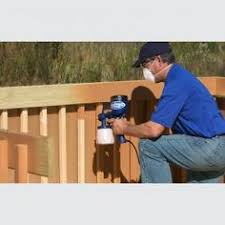 using a paint sprayer to stain the deck so much better than