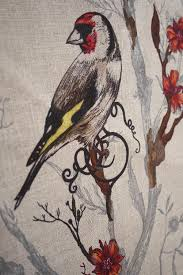 Upholstery Fabric With Birds Upholstery Fabric Animal Motif Cotton Linen Birds N Bees