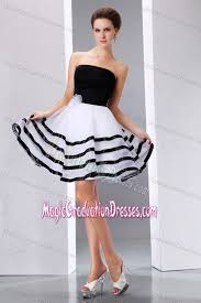and white cute graduation dresses strapless knee length
