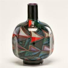 Eva Vase Orreforseva Englund Graal Millefiori Röd Glass Vase By Eva Englund