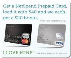 load prepaid card with credit card netspend prepaid card 20 referral bonus program for netspend