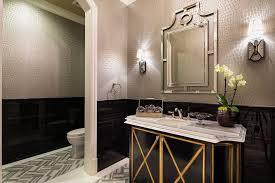 Striped Wallpaper Bathroom Los Angeles Ticking Stripe Wallpaper Bathroom Mediterranean With