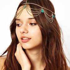 chain headband fashion trendy bohemian hair accessories women metal gold tassel