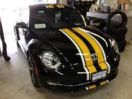 black volkswagen beetle vw beetle custom stripes clear auto bra st louis custom