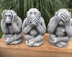 decorative figurine statue three wise monkeys see hear