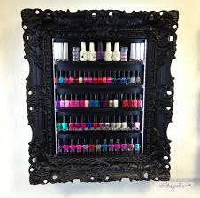 Nail Varnish Cabinet Black Wide Illuminated Nail Polish Rack Beauty U0026 Make Up Display