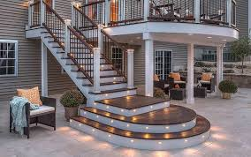 outdoor deck with under space and modern lights the outside deck