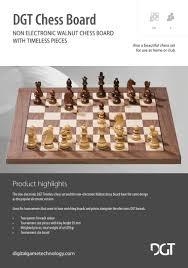 dgt walnut deluxe wood chess board 55 mm field 10842
