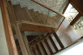 walnut and glass contemporary staircase san diego by