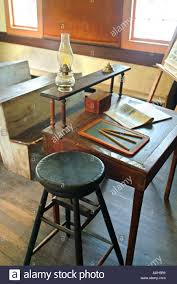 Wooden Desk Chair Old Fashioned One Room House With Wooden Desk Chairs Stool