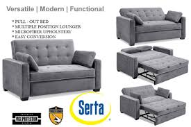 Modern Futon Sofa Bed Augustine Serta Rise Sleeper Futon