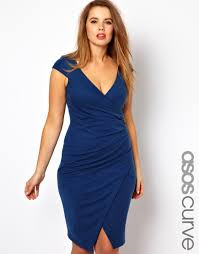 gossard asos curve pencil dress with ruched wrap in blue lyst