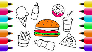 how to draw fast food set coloring pages ice cream pizza