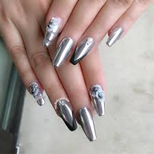 silver chrome mirror nail polish nails gallery
